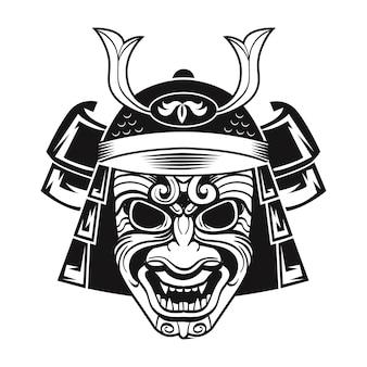 Japanischer kämpfer in schwarzer maske. japanischer traditioneller krieger. weinlese lokalisierte vektorillustration