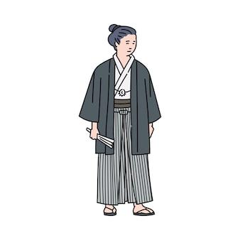 Japanischer karikaturmann im stehen der traditionellen tracht. alter japanischer krieger oder mönch in kimonostilkleidung -