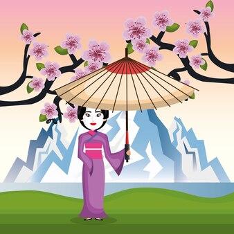 Japanischer kimono des mädchens willkommen japan-ikone