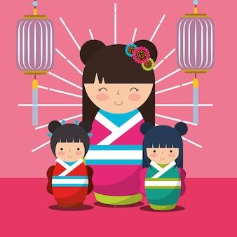 Japanischer kokeshi puppen kimono