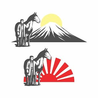 Japanischer mann mit pferdelogorvektorillustration