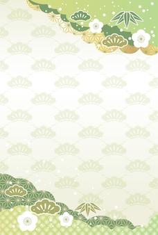 Japanischer neujahrshintergrund mit glückverheißenden weinlesezaubern