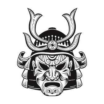 Japanischer ninja in schwarzer maske. japanische traditionelle weinlesekrieger isolierte vektorillustration