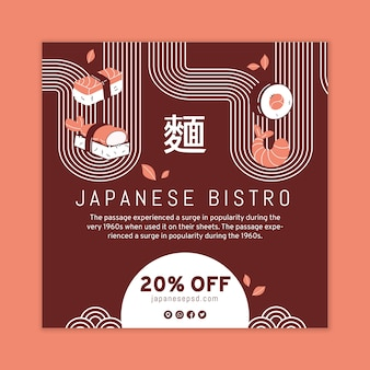 Japanischer restaurant-flyer-platz