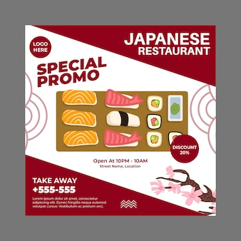 Japanischer restaurant flyer