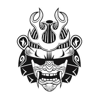 Japanischer samurai mit schwarzer maske. flaches bild des japanischen kriegers. weinlesevektorillustration