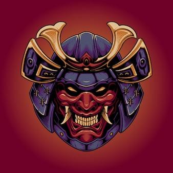 Japanischer samurai mit teufelsmaske
