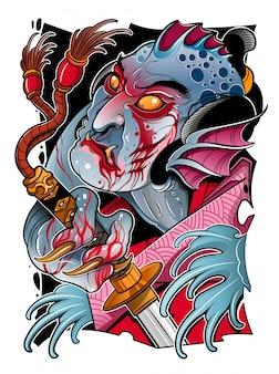 Japanischer seeteufel mit einem samuraischwert