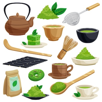Japanischer teezeremonie-elementsatz