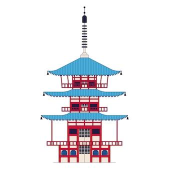 Japanischer tempel, chureito-pagode. umrissikone, weißer hintergrund. Premium Vektoren