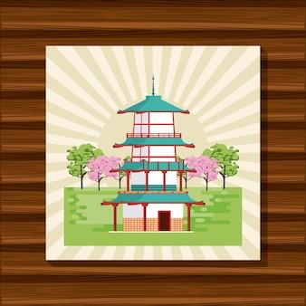 Japanischer tempel in der natur