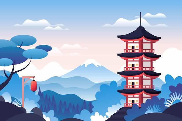 Japanischer tempel, umgeben von natur