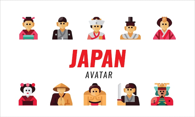 Japanischer traditioneller charakter. flache designelemente. vektor-illustration