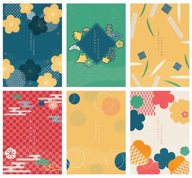 Japanisches cover-set. strichzeichnungen im asiatischen stil mit chinesischem meer in orientalischen künsten. blumenelement und geometrischer stil