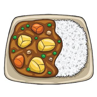 Japanisches curry-essen im flachen design-stil