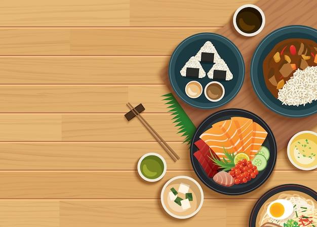 Japanisches essen auf holztisch der draufsicht