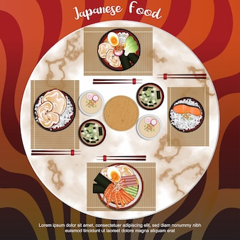 Japanisches essen mit stein hintergrund
