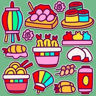 Japanisches food doodle design