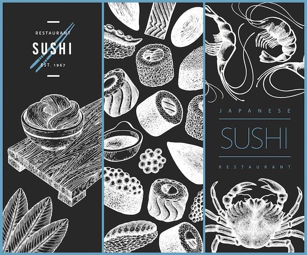 Japanisches küchendesign. sushi hand gezeichnete illustration auf kreidetafel.