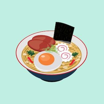 Japanisches lebensmittel ramen-nudel-illustrations-vektor clipart