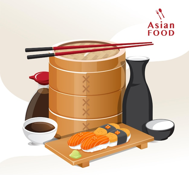 Japanisches lebensmittelvektor-sushi auf teller-sashimi-rolle oder nigiri, japanisches restaurant, vektorillustration.