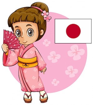 Japanisches mädchen im rosafarbenen kimono und in der japan-markierungsfahne