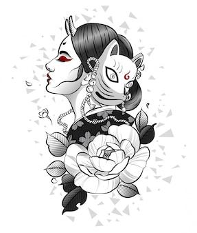 Japanisches mädchen in der maske des roten fuchses