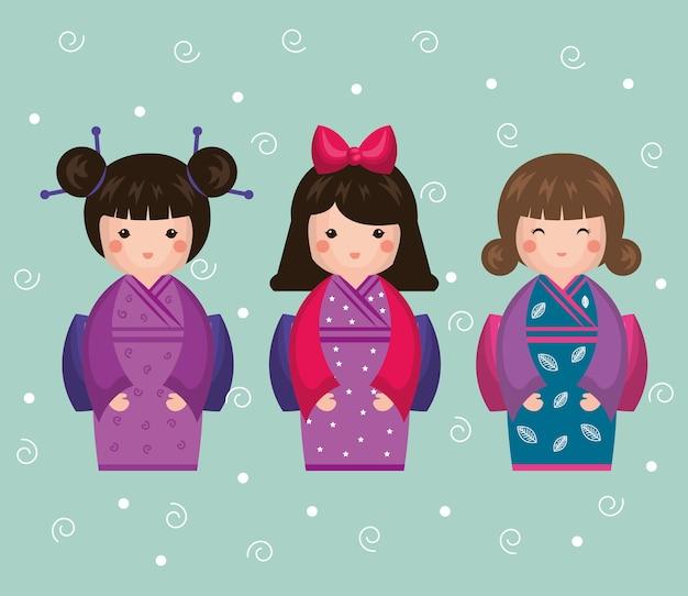Japanisches mädchen puppe symbol vektor-illustration design