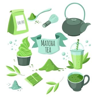 Japanisches matcha-grüntee-pulver. die japanische inschrift lautet matcha.