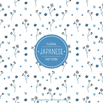 Japanisches muster mit blauen kleinen blumen