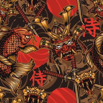 Japanisches nahtloses muster der weinlese mit samurai-maske im helm koi-fisch wütender schlangenkopf gekreuzte katanas