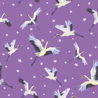 Japanisches nahtloses muster von vögeln
