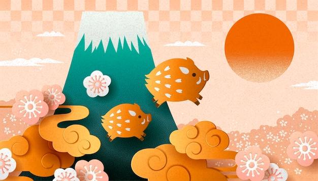 Japanisches neues jahr mit wildschwein im papierkunststil und fuji-berg