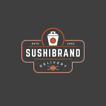 Japanisches nudelkastenschattenbild der sushishop-logo-schablone mit retro- typografie