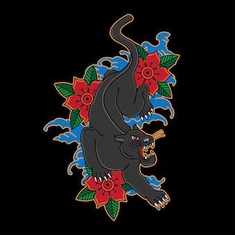 Japanisches panther-tattoo