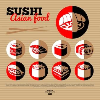 Japanisches sushi. flache icon-set. menügestaltung