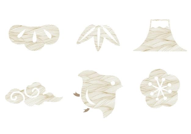 Japanisches symbol und symbol mit linienmustervektor. bonsai-, bambus-, fuji-berg-, wolken-, vogel- und kirschblüten-blumenobjekt.