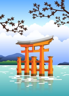 Japanisches tor torii mit wasser und bäumen