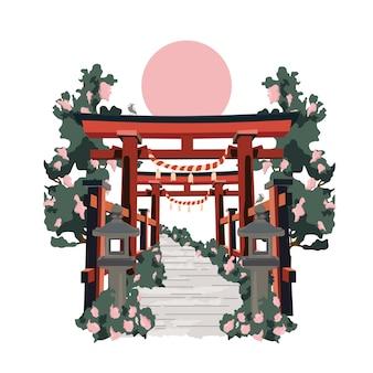 Japanisches torii-tor in japan. flache karikaturillustration des farbvektors lokalisiert auf sonne und weiß