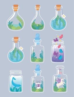 Jar terrarium gesetzt mit tieren und blumenkomposition dekorative pflanzen vegetation illustration