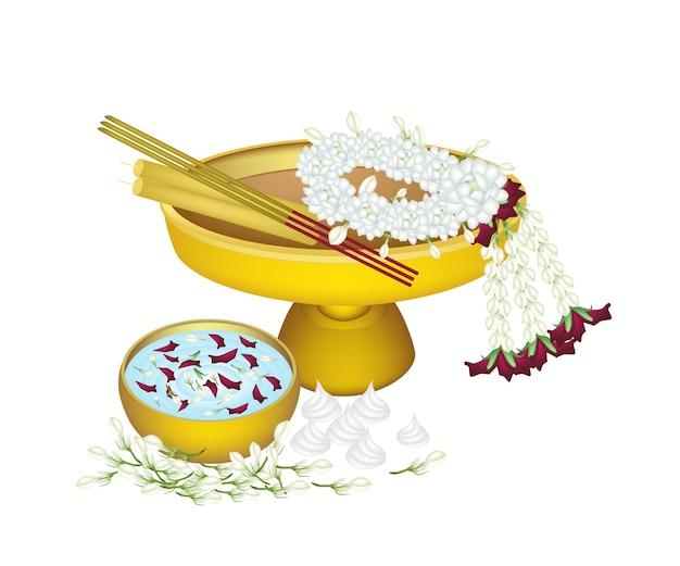 Jasmin-kranz mit wasserschale für songkran festival