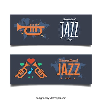 Jazz-banner mit trompeten in flaches design