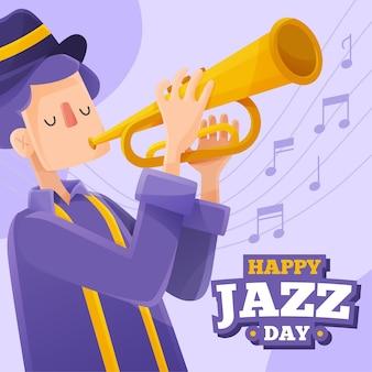 Jazz die seelenmusik und mann mit trompete