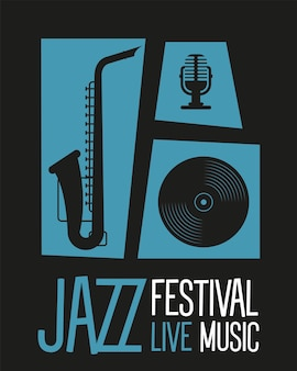 Jazz festivalplakat mit saxophon und instrumentenvektorillustrationsdesign