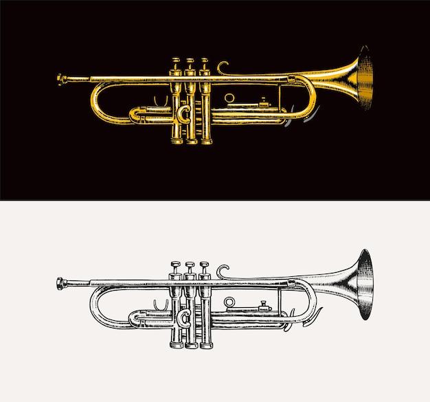 Jazz-instrument-trompete-vektor-illustration klassischer blasmusikapparat im doodle-umriss-stil