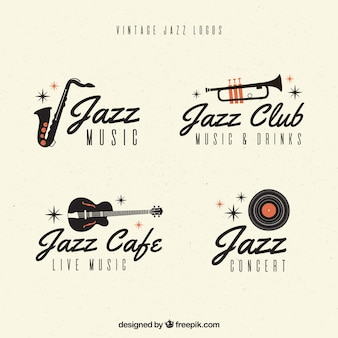Jazz-logo-sammlung mit vintage-stil
