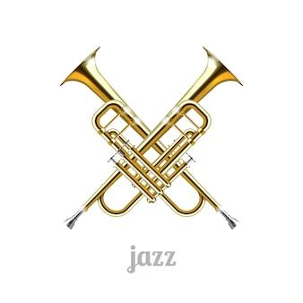 Jazz-logo-symbol. zwei gekreuzte röhren vor einem weißen hintergrund. vektorillustration