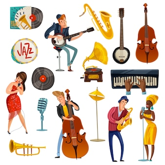 Jazz-musik-cartoon-set