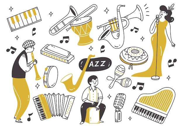 Jazz-musik-player mit instrumenten im doodle-stil
