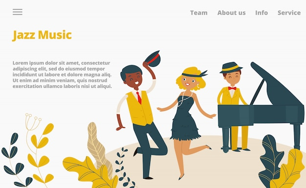 Jazz musikstudio landung webseite, konzept banner website vorlage cartoon illustration. firmenwebseite, weiblicher männlicher charaktertanz.